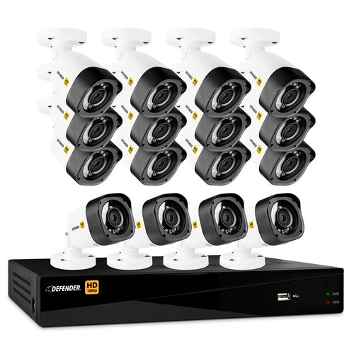 Defender HD 1080p 16-Channel 2TB DVR Security System with 16 Bullet Cameras