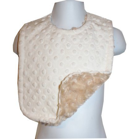 Rosebud Dots (Lil' Cub Hub Cream Dimple Dot Minky with Camel Rosebud Swirl Minky Reversible and Adjustable Solid Bib )