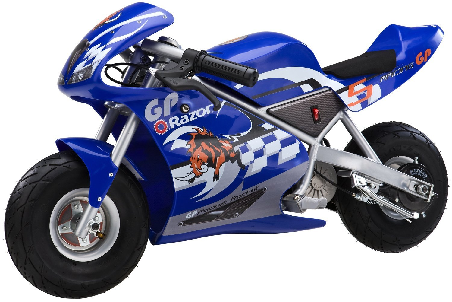 Razor 24 Volt Mini Electric Single Speed Racing Motorcycle Pocket Rocket,  Blue   Walmart.com