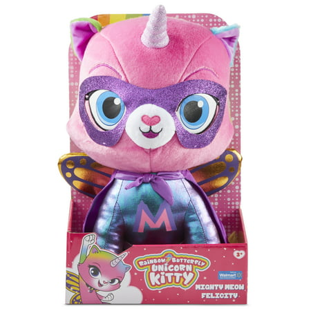 "Rainbow Butterfly Unicorn Kitty - 14"" Mighty Meow Felicity Plush"