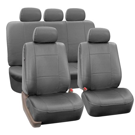 FH Group Gray Faux Leather Airbag Compatible and Split Bench Car Seat Covers, Full