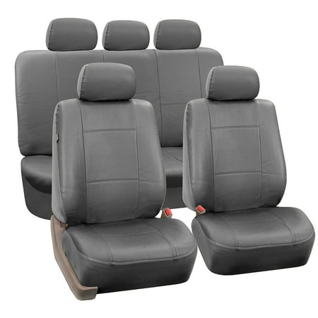 FH Group Gray Faux Leather Airbag Compatible and Split Bench Car Seat Covers, Full - Seat Cover Installation Kit