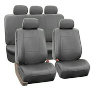 FH Group Gray Faux Leather Airbag Compatible And Split Bench Car Seat Covers Full Set