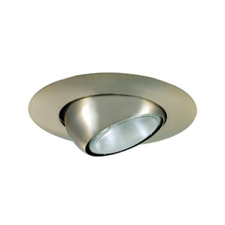 Jesco Lighting TM613ST 6 in. Aperture Line Voltage Trim Recessed Light - Adjustable Eyeball, Satin Chrome