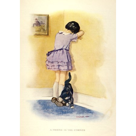 The Prize for Girls and Boys 1920s Girl in corner with cat Poster Print by  B - 1920s Girl