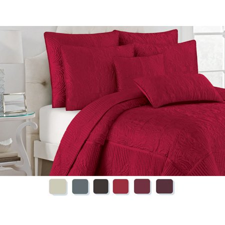 NC Home Fashions Paisley Quilt Set,  Full/Queen,  Chinese Red ()