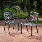 Atlanta Outdoor Cast Aluminum Dining Chairs, Set of 2, Shiny Copper