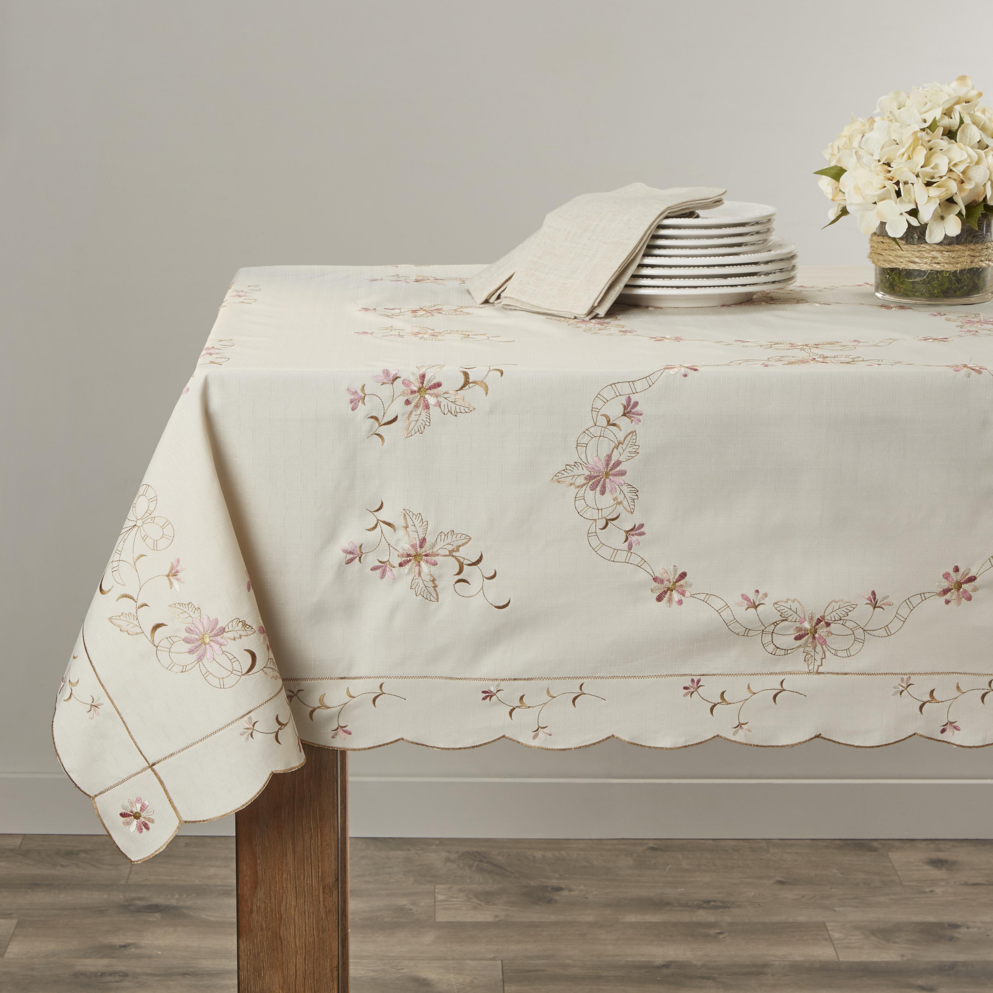 Renaissance Embroidered Design Tablecloths by Violet Linen