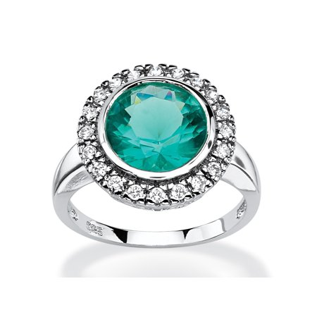 - .30 TCW Round Aqua Simulated Spinel Halo Cocktail Ring in Rhodium-Plated Sterling Silver
