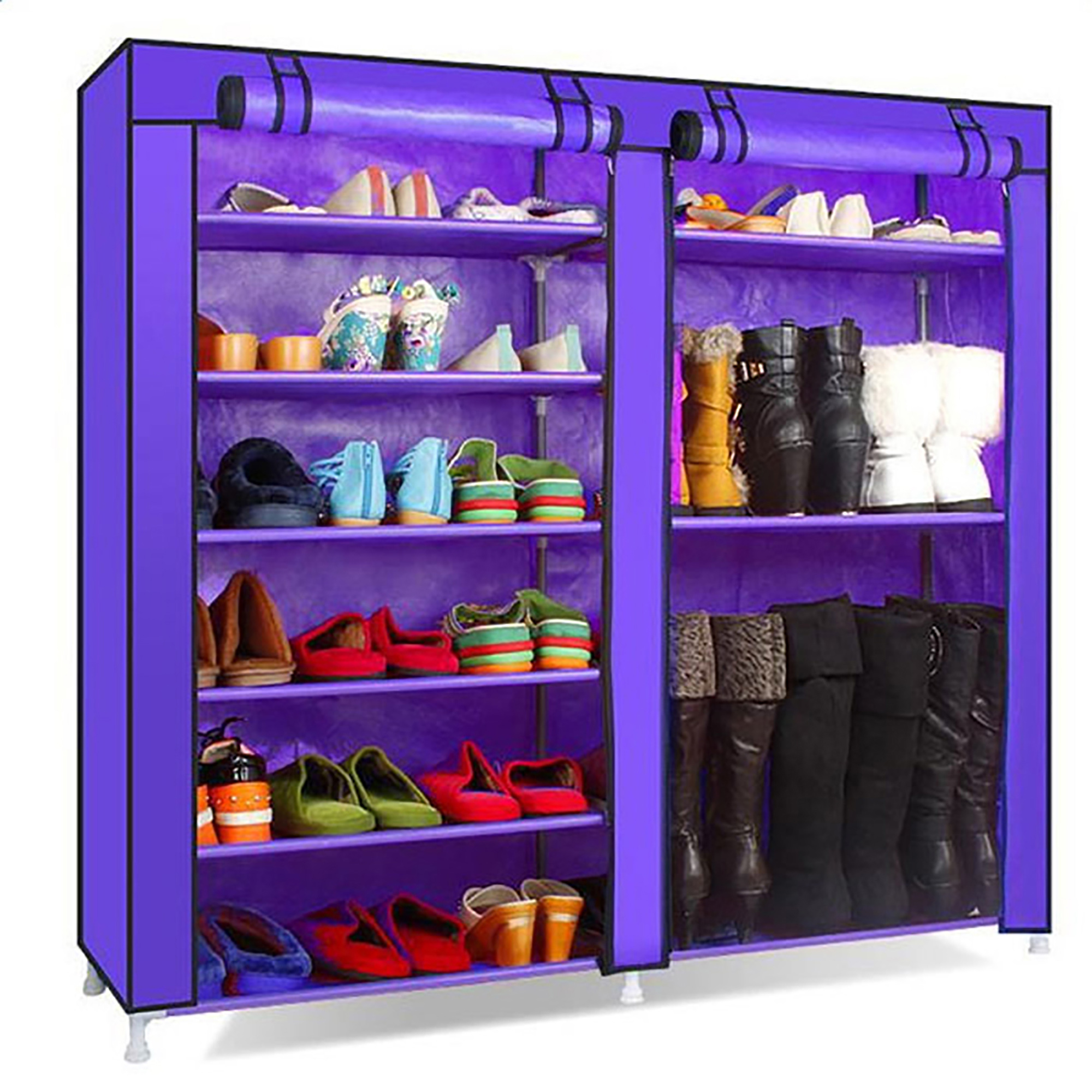 """Double Rows 9 Lattices Shoe Rack Organizer, Wall Bench Shoe Cabinet with doors for Home, (42.13"""" L x 11.02"""" W x 44.09"""" H)"""