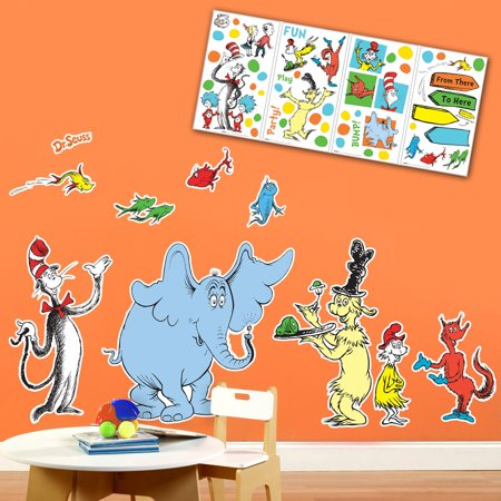 Dr Seuss Cat in the Hat Room Decor - Giant and Small Wall Decal Kit