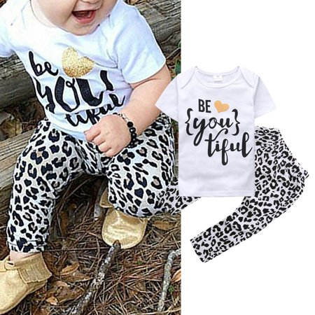 c264680fb6f4 XIAXAIXU - 2PCS Toddler Kids Baby Girl Summer Outfit Short Sleeve T-shirt  Top +Long Leopard Print Pants Clothes Set - Walmart.com