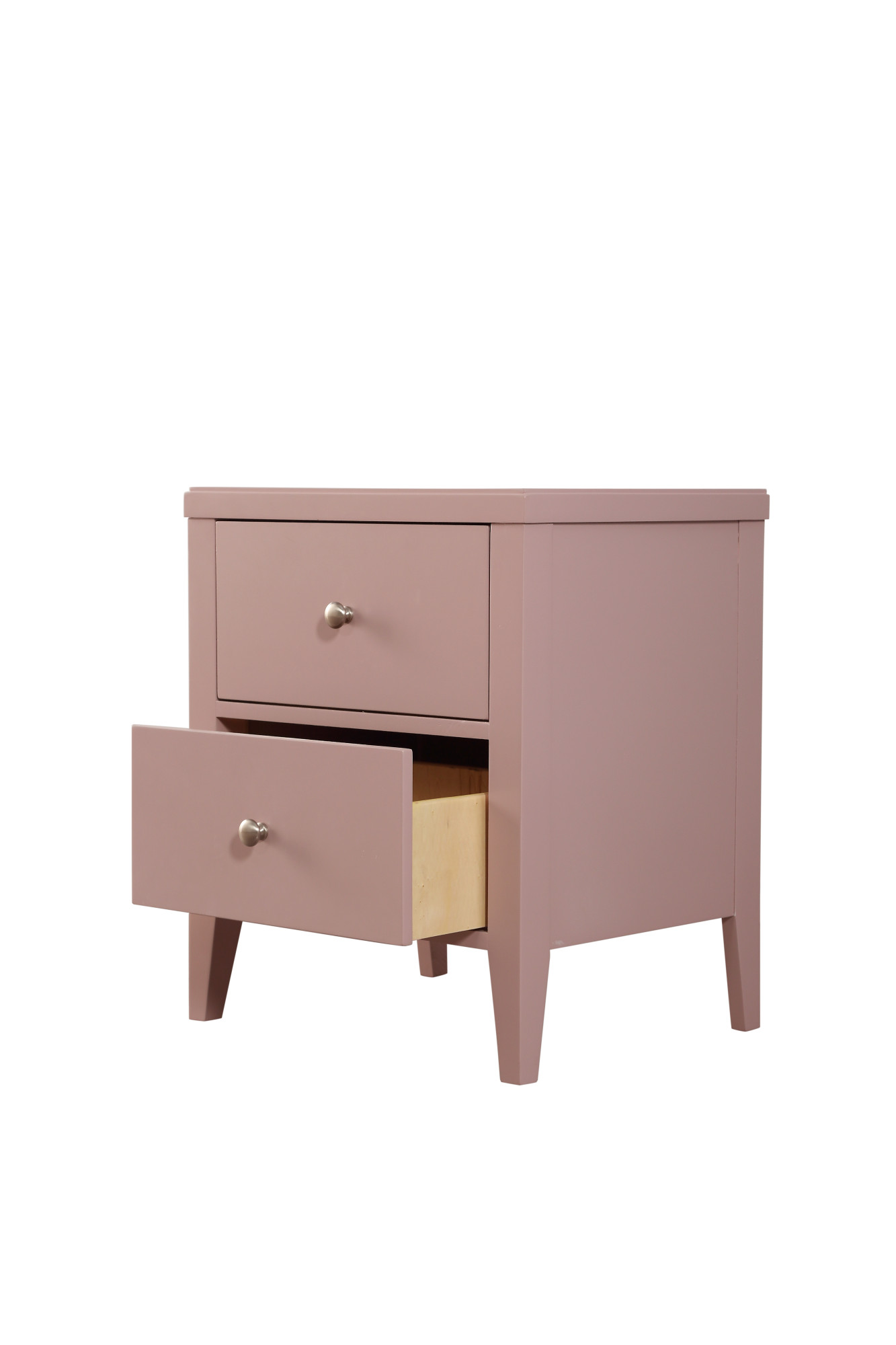 Emerald Home Home Decor Iii Pink Nightstand With Angled Wood Legs And Brushed Nickel Hardware 2 Drawer Walmart Com Walmart Com