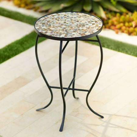 Black Mosaic Mother Of Pearl (Teal Island Designs Mother Of Pearl Mosaic Black Iron Outdoor Accent)