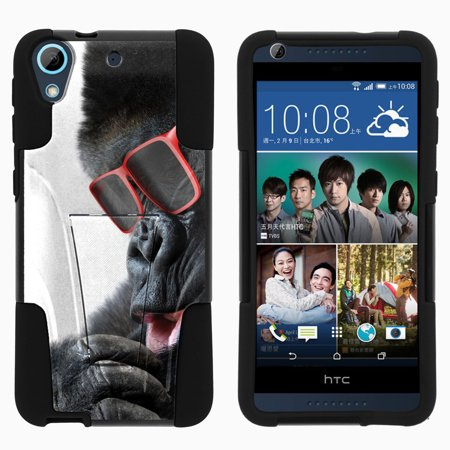 HTC Desire 626 STRIKE IMPACT Dual Layer Shock Absorbing Case with Built-In Kickstand - Gorilla with Sunglasses Eyeglasses Sunglasses Phone Case