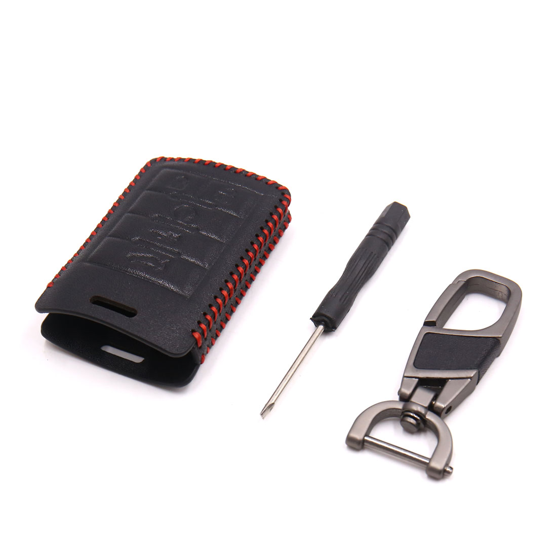 Black Red Faux Leather Car 5 Button Remote Key Cover Holder Case for Cadillac