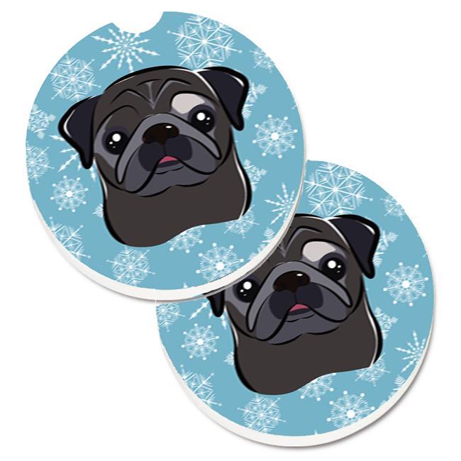 Carolines Treasures BB1697CARC Snowflake Black Pug Set of 2 Cup Holder Car Coaster - image 1 of 1