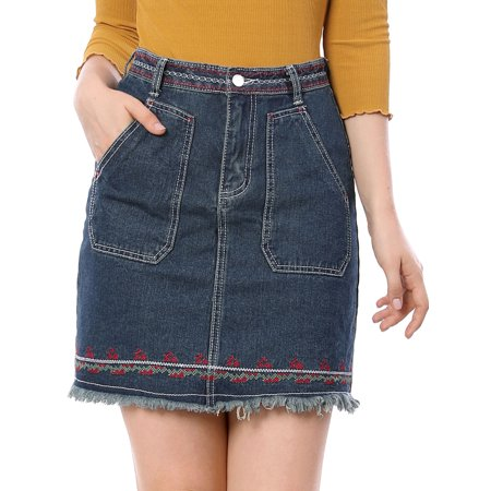 Unique Bargains Women's Embroidery Mini Denim Skirt - Floral Embroidery Denim Skirt