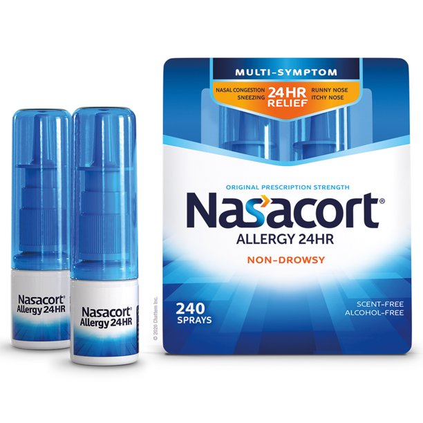 Nasacort Multi-Symptom 24hr Nasal Allergy Relief Spray, 120 Sprays Twin Pack