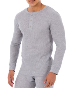 Fruit Of The Loom Men/'s Waffle Thermal Henley 2 Pack Size 5XL Gray /& Black