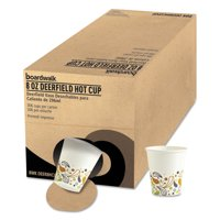 Boardwalk Convenience Pack Paper Hot Cups, 8 oz, Deerfield Print, 306/Carton -BWKDEER8HCUPOP