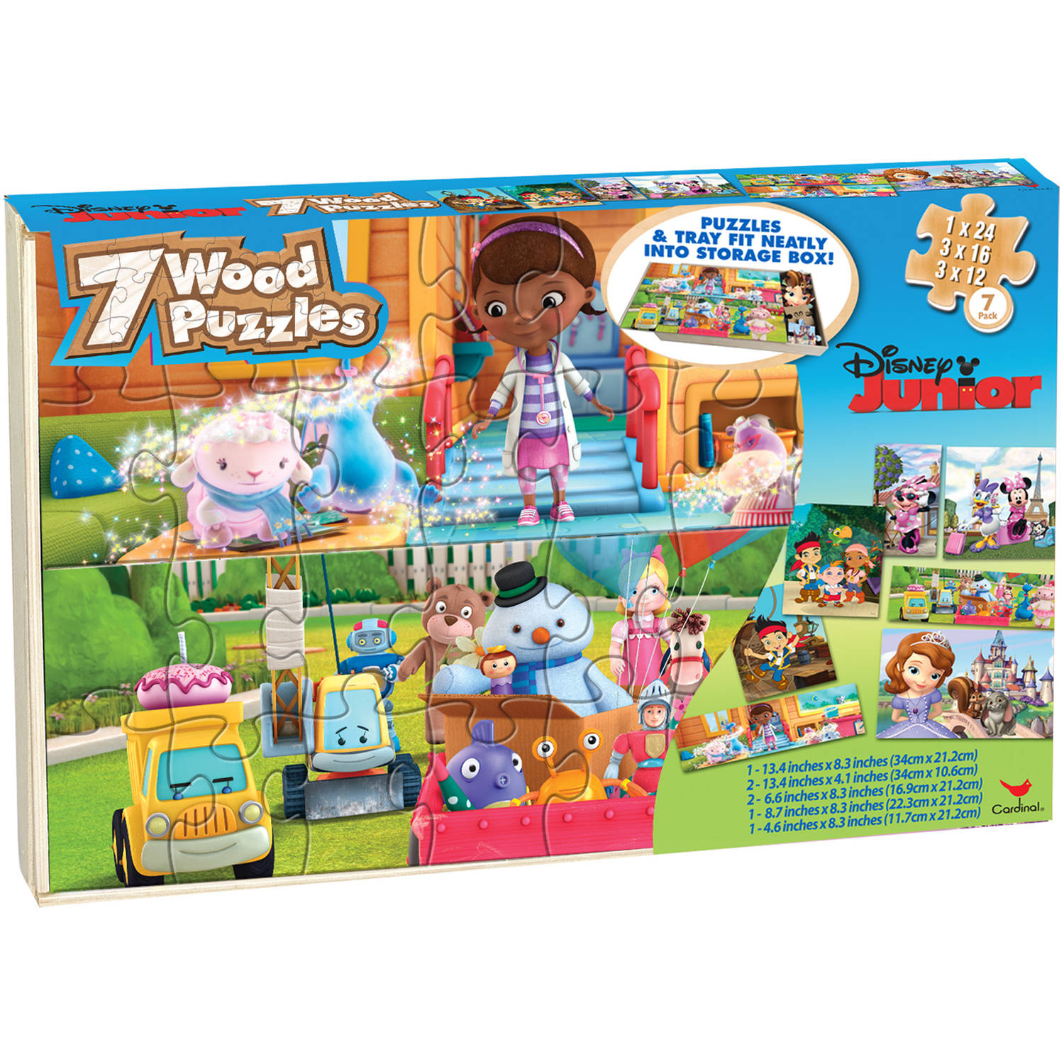 Disney Junior 7 Wood Jigsaw Puzzles in Wood Storage Box