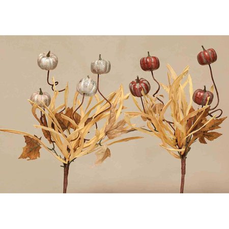 ZiaBella Decorative Harvest Season Pumpkin Picks with Faux Leaves and Dried Grass (Set of 2) (Set of 2) - Pumpkin With Leaves