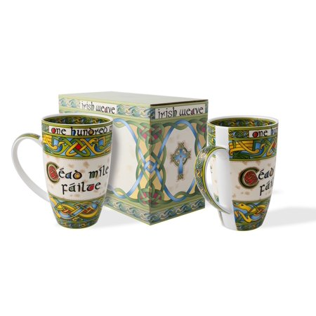 Irish Cead Mile Failte Mug Set of Two with Matching Gift Box