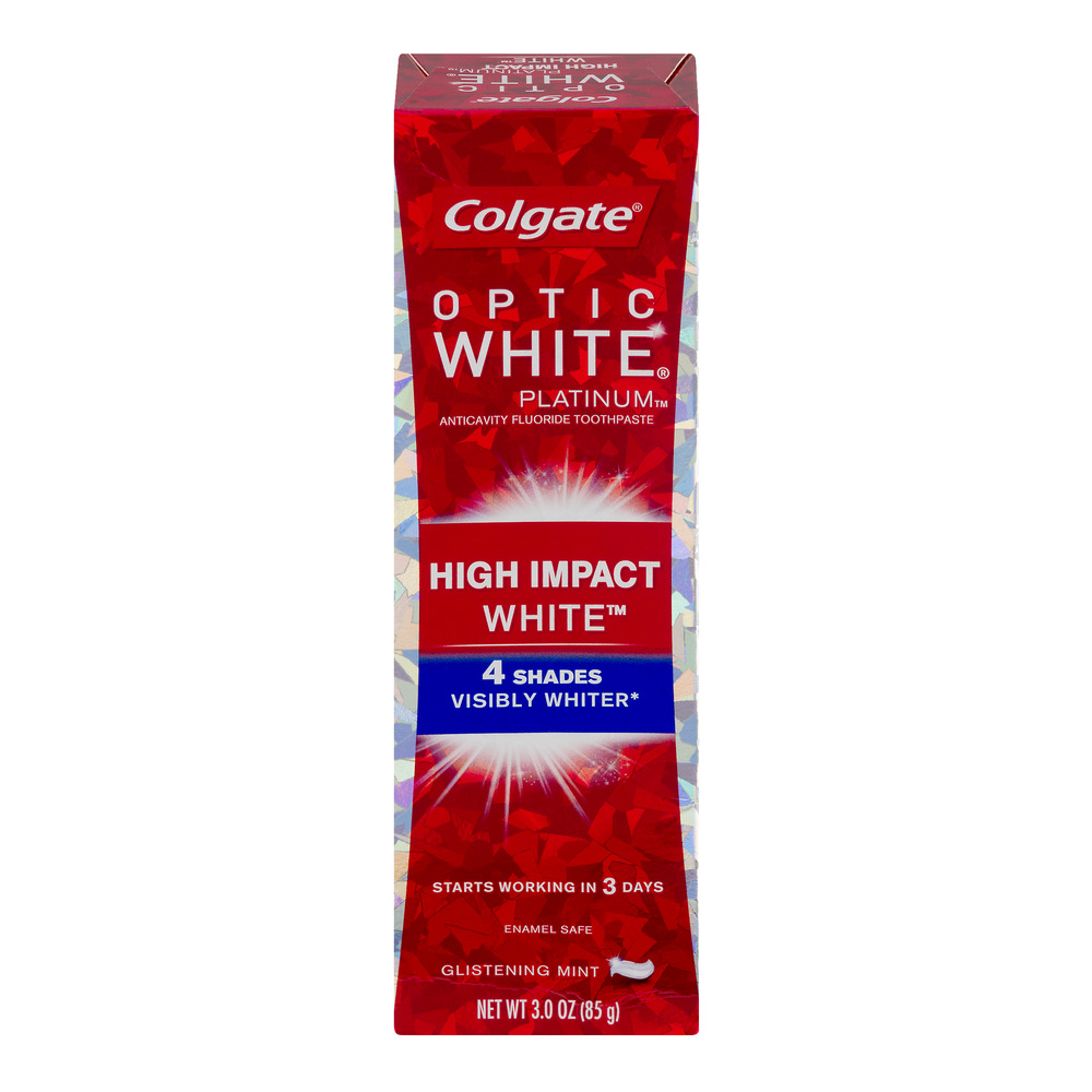 Colgate Optic White Platinum High Impact White Toothpaste Glistening Mint, 3.0 OZ