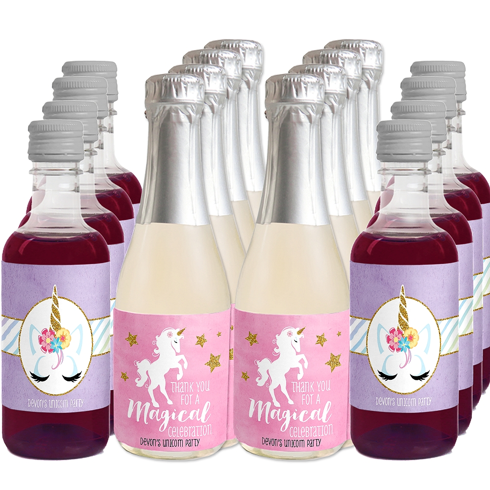 Rainbow Unicorn - Mini Wine and Champagne Bottle Label Stickers - Baby Shower or Birthday Party Favor Gift - 16 Ct.