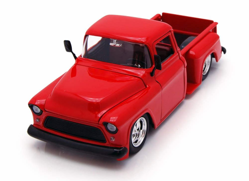 1955 Chevy Stepside Pickup, Red Jada Toys 90160 1 24 scale Diecast Model Toy Car by Jada