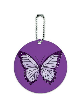 Purple Butterfly Round Luggage ID Tag Card for Suitcase or Carry-On