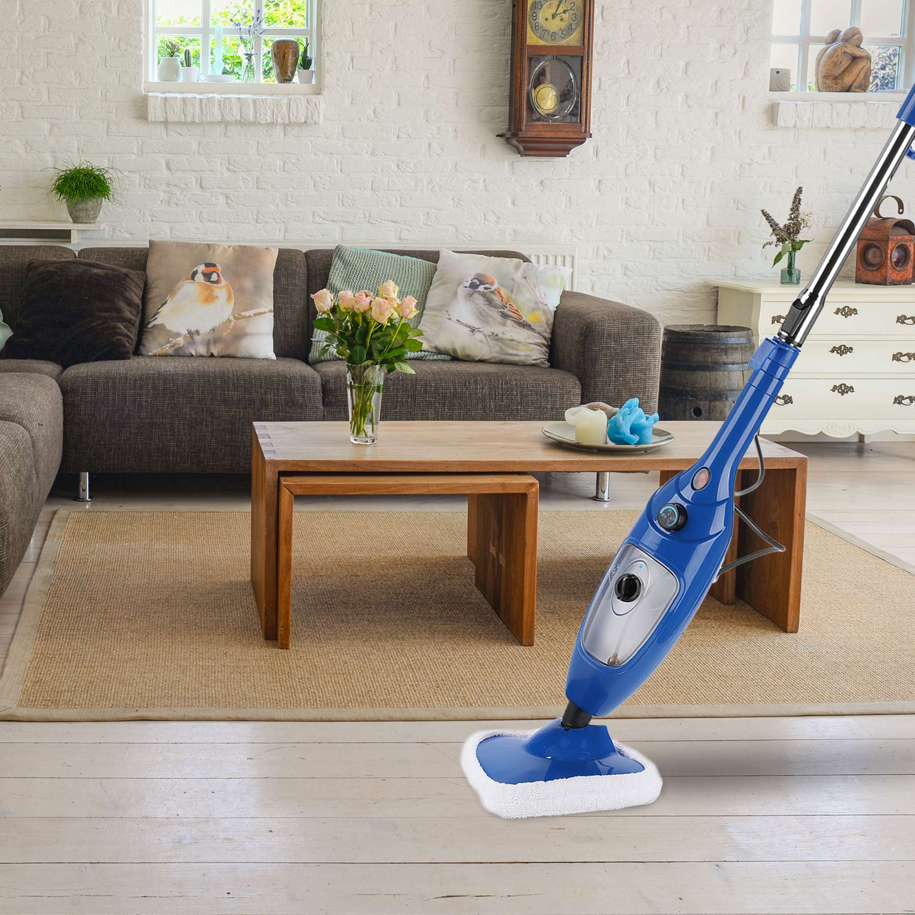 1300W Hot Steam & Spray Mop Adjustable Steam Floor Cleaner