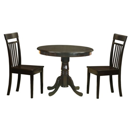 East West Furniture Antique 3 Piece Pedestal Round Dining Table Set with Capri Wooden Seat Chairs ()