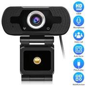 1080P HD Webcam, USB Desktop Laptop Web Camera, Auto Focus Webcam with Built-in Noise Cancelling Microphone Skype Web Cam Full HD Fits for PC Laptop Computer Windows 10/8/7/XP, Mac OS - Plug & Play