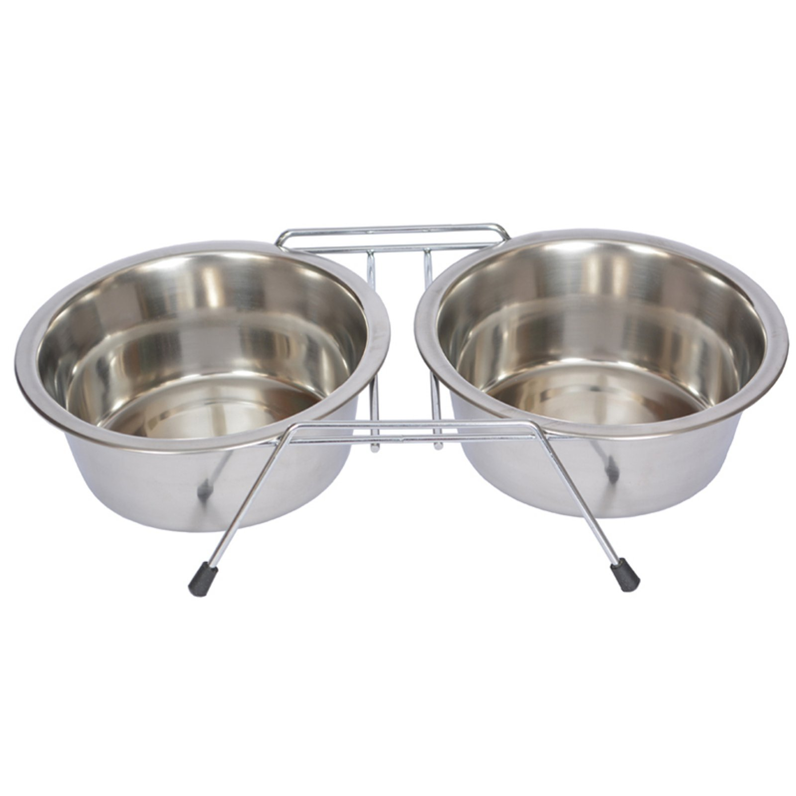 Iconic Pet Stainless Steel Double Diner with Wire Stand For Dog or Cat, 2 Qt, 64 Oz, 8 Cup