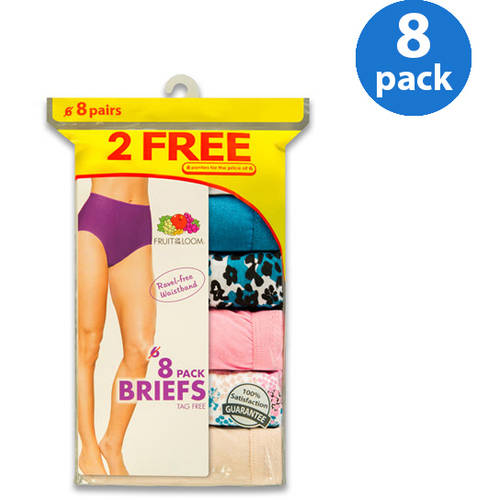 Fruit of the Loom Ladies' Cotton Briefs 6+2 Bonus Pack