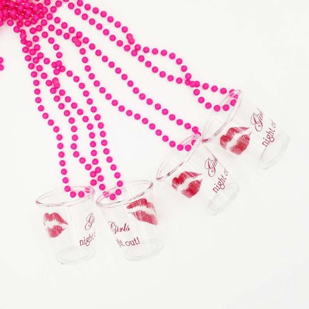 4 Girls Night Out Pink Shot Glass Necklace Bachelorette Party Favor GNO](Shot Glass Necklaces)