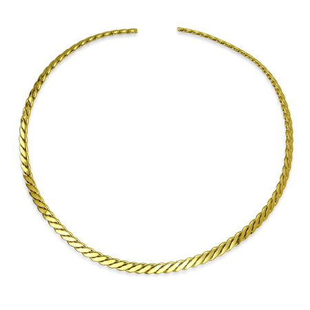 Rope Choke Collar (Rope Twist Woven Cable Collar Slider Choker Necklace For Women For Teen 14K Gold Plated Brass Add Your Pendant)