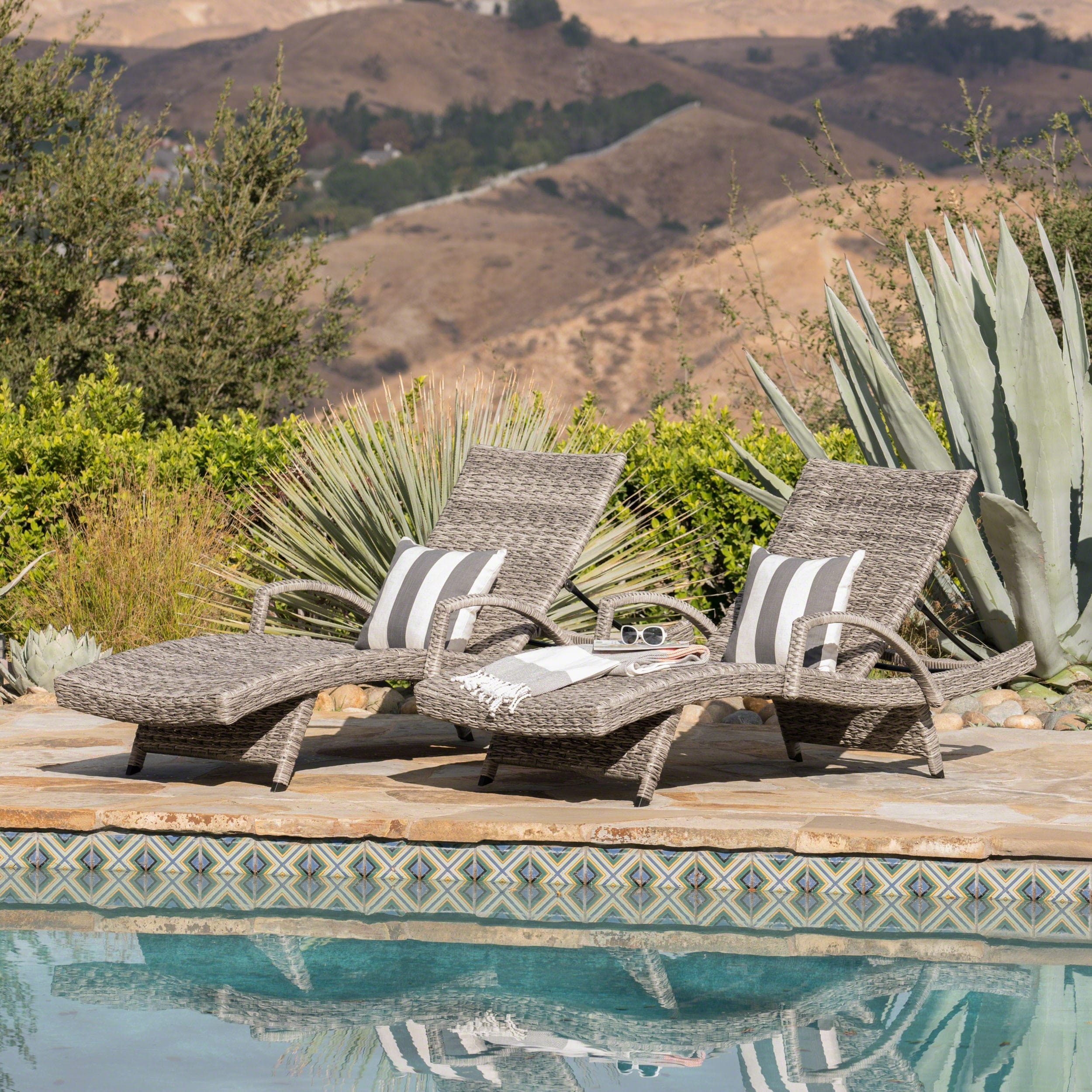 Christopher Knight Home Crete Outdoor Armed Aluminum Wicker Chaise Lounge (Set of 2) by