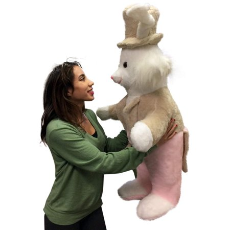 American Made Giant Stuffed Bunny Rabbit Wearing Tuxedo 4 Feet Tall Pink Pants Big Plush Rabbit - Bunny Tuxedo