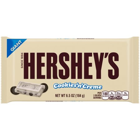 (2 Pack) Hershey Giant Cookies Creme White Chocolate Candy, 6.5 Oz](Cookies And Cream Chocolate)