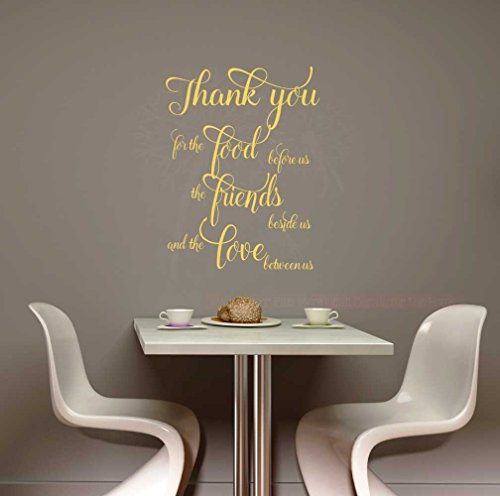 Thank You For Food, Friends, Love Vinyl Wall Decals Home Décor Quote Kitchen Sayings, 23x17-Inch, Buttercream