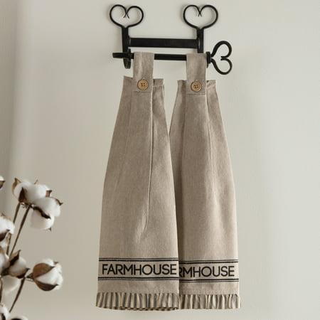 Ashton & Willow Khaki Tan Farmhouse Housewarming Tabletop Kitchen Miller Farm Charcoal Fabric Loop Cotton Stenciled Chambray Text Kitchen Towel Set of 2