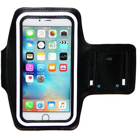 save off 7ef1c 10afa i2 Gear Sports Armband for iPhone 8 Plus, 7 Plus, 6 Plus with Keyholder,  Fingerprint Touch and Reflective Band (5.5 inch, Black)