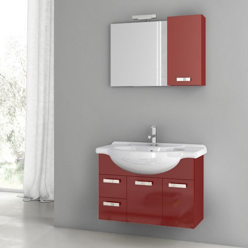 ACF by Nameeks ACF PH02-GR Phinex 32-in. Single Bathroom Vanity Set - Glossy Red