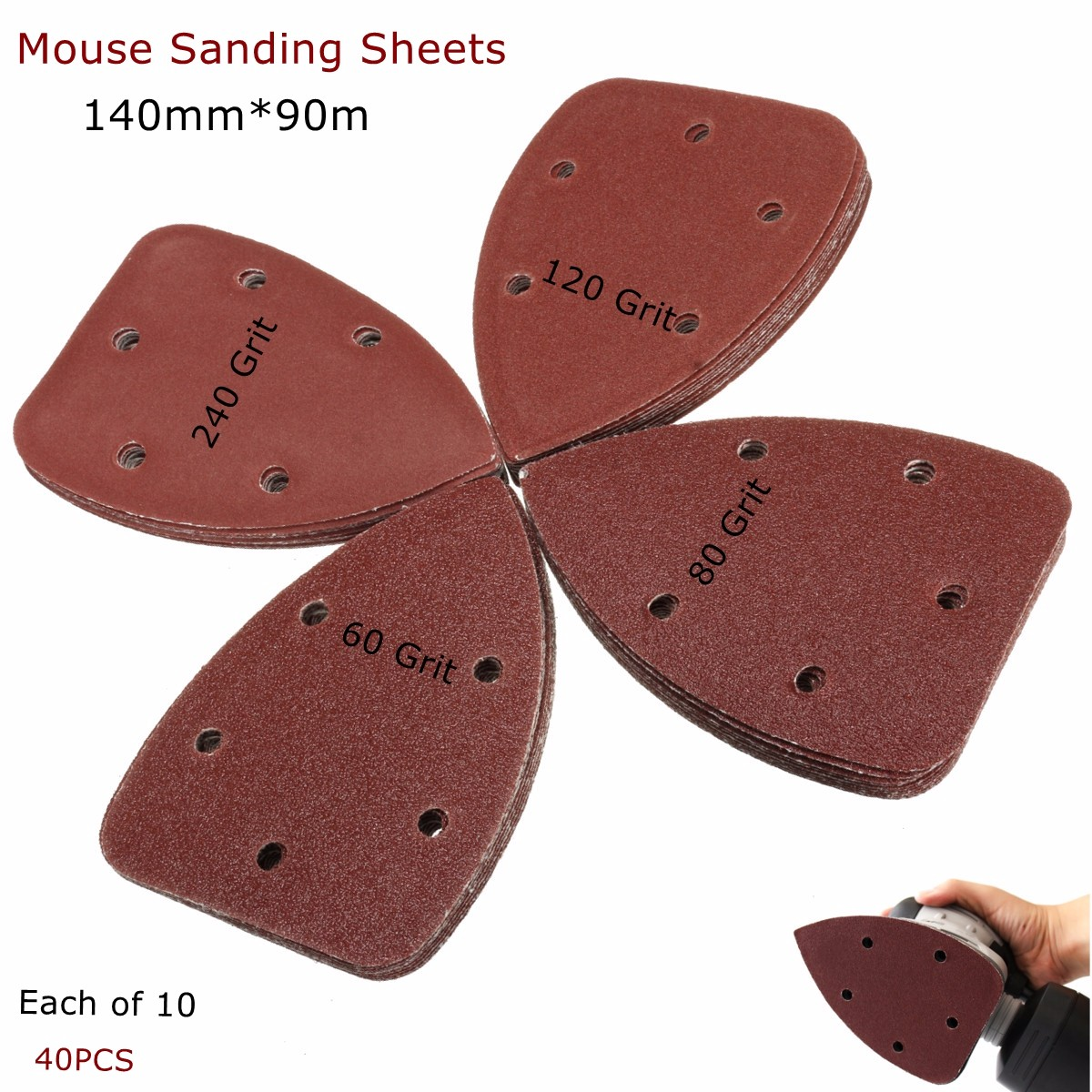 40-Pack Mouse Sander Pads Sanding SHeets Discs Sandpaper Mixed Grit 40 80 120 240 Fit... by