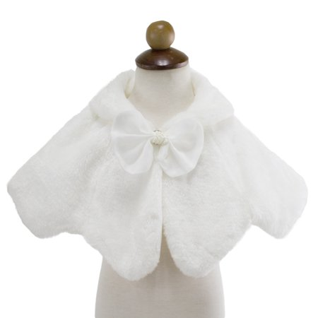 Styles I Love Little Princess White Plush Faux Fur Shawl Capelet with Bow Wedding Flower Girl Warm Cape (110/3-4 Years) (Faux Fur Cape)