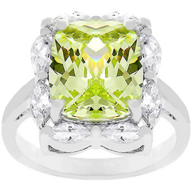 Sunrise Wholesale J2677 05 White Gold Rhodium Bonded Green Ice Ring