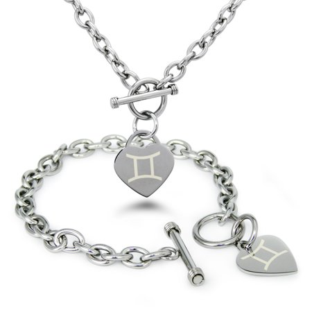 Stainless Steel Gemini Astrology Symbol Heart Charm Toggle Bracelet & Necklace